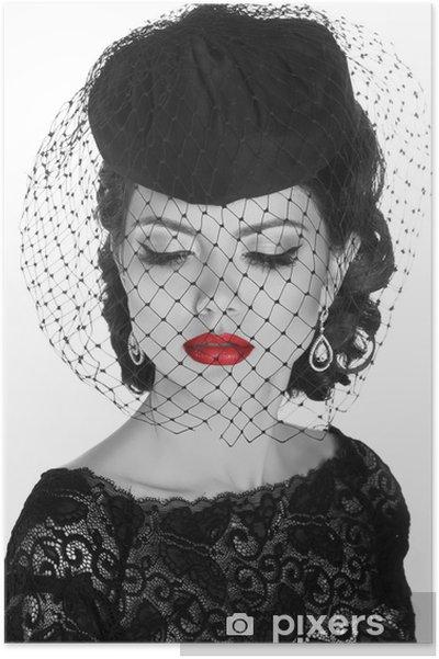 poster r u00e9tro femme  mode fille mod u00e8le portrait  photo noir et blanc   u2022 pixers u00ae
