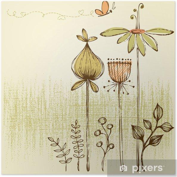 Poster Retro floral card - Fleurs