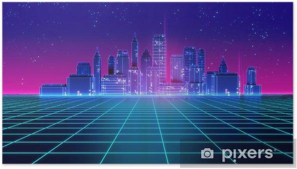 Poster Retro futuristische stijl 3d illustratie van de de jaren 80stijl van de wolkenkrabberstad. - Gebouwen en Architectuur