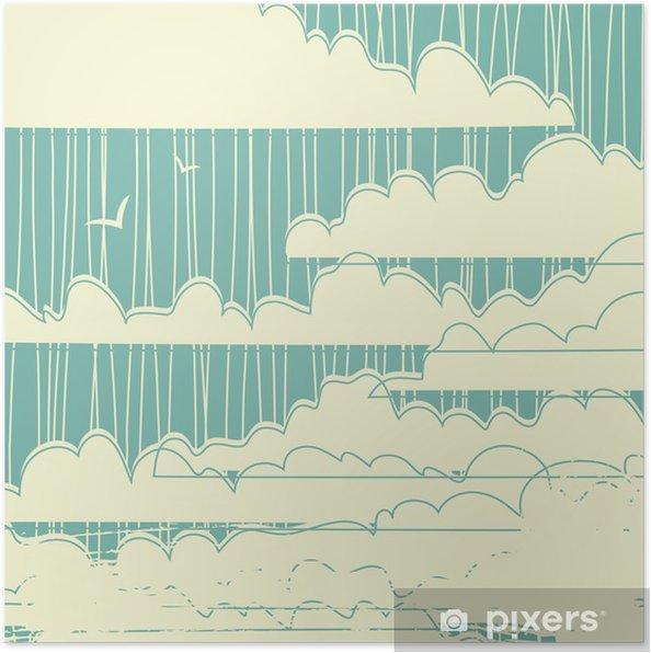 Poster Retro grungy wolken achtergrond - Stijlen