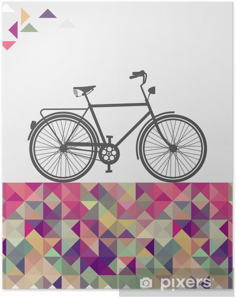 Retro hipsters bicycle geometric elements. Poster - Bikes