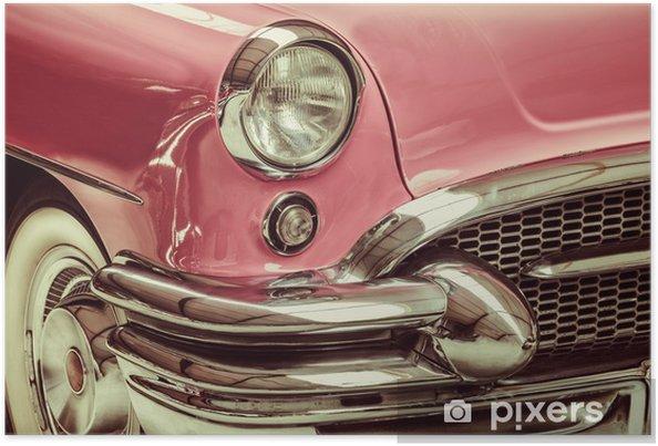 Poster Rétro image de style d'un front d'une voiture classique - Sur la route