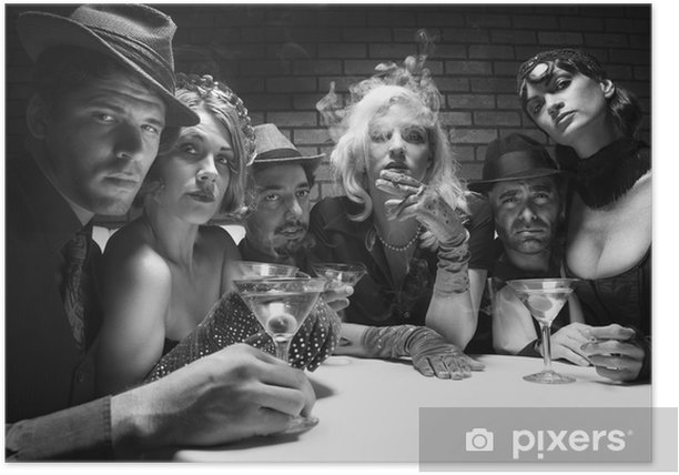retro males and females sitting at table in lounge. Poster - Anger