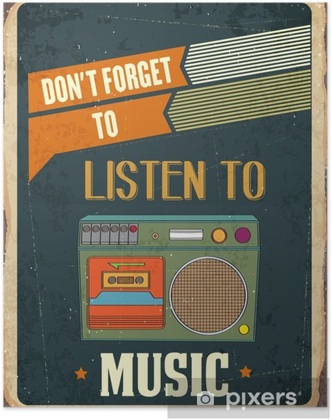 """Retro metal sign """" Listen music"""" Poster - Hobbies and Leisure"""