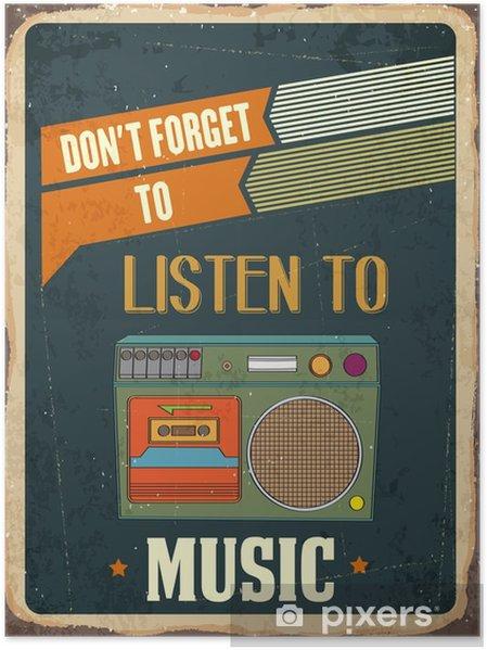 """Poster Retro metall skylt """"Lyssna musik"""" - Hobby och fritid"""