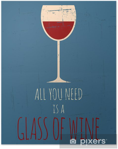 Retro Red Wine Poster Poster - Themes