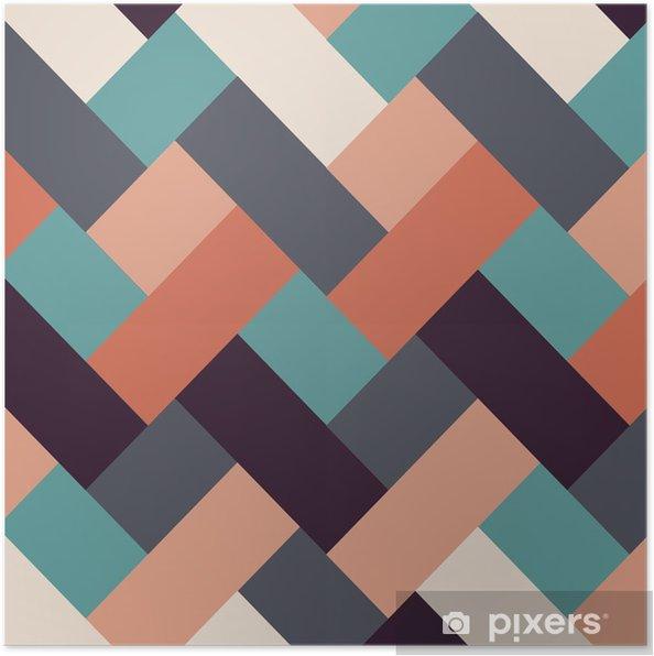 Poster Retro stijl abstracte strepen achtergrond - Achtergrond