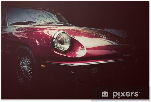 Poster Rétro voiture classique sur fond sombre. Vintage, élégant - Transports