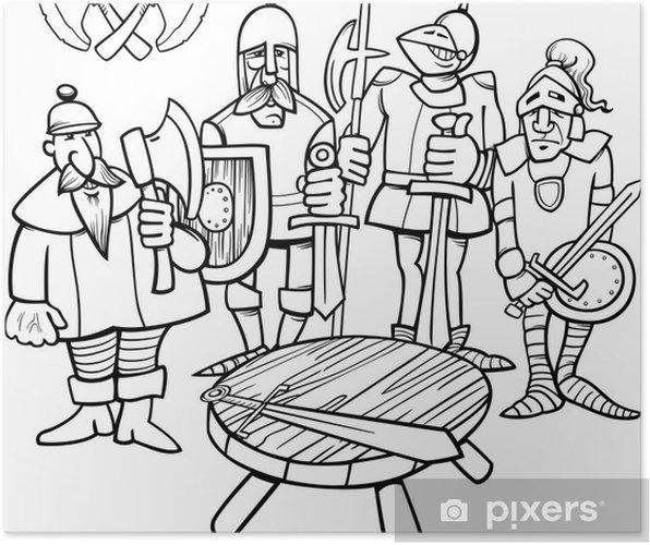 Poster Ridders Van De Ronde Tafel Kleurplaat Pixers We Leven Om