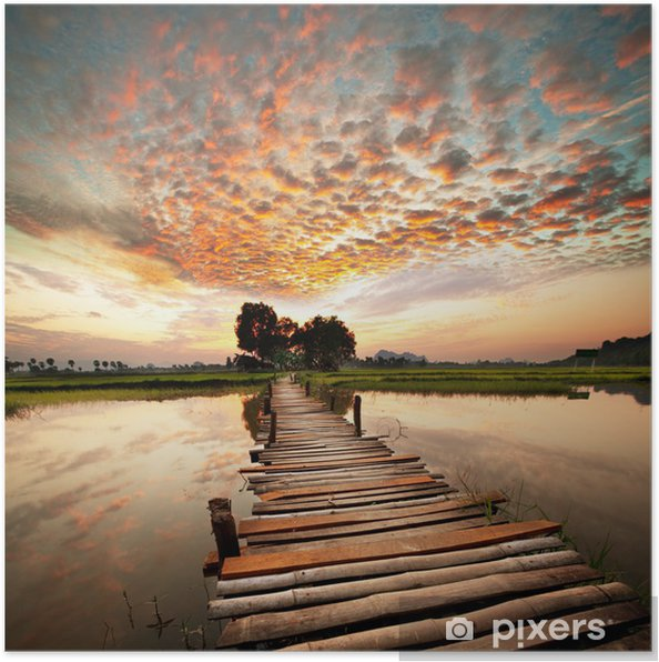 Póster Río en la puesta del sol -