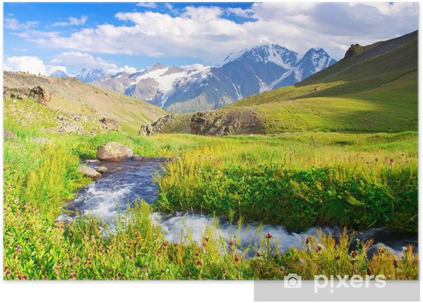 River on a mountain meadow Poster - Themes