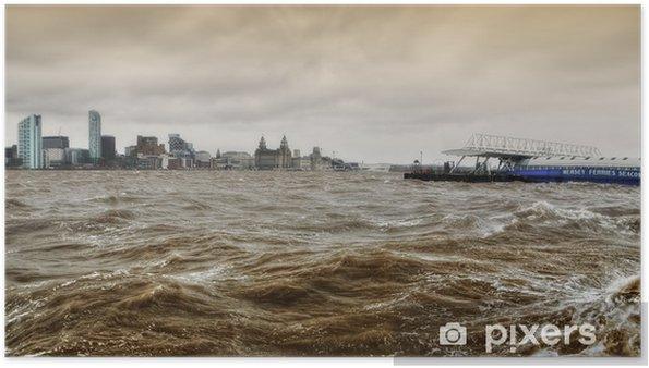 Poster Rivier de Mersey Storm - Liverpool - Natuurrampen