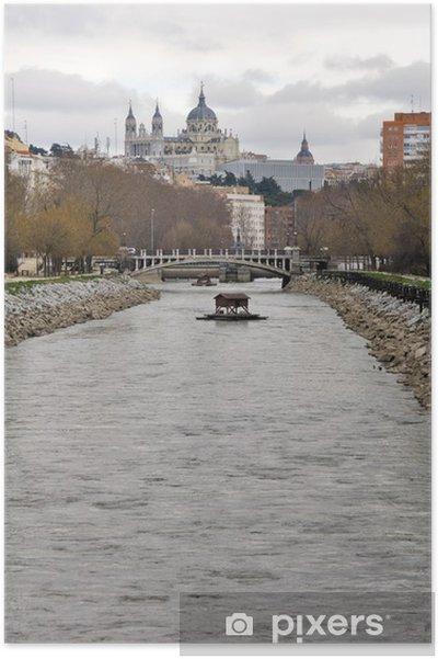 Poster Rivière Manzanares, la cathédrale Almudena comme arrière-plan, Madrid - Villes européennes