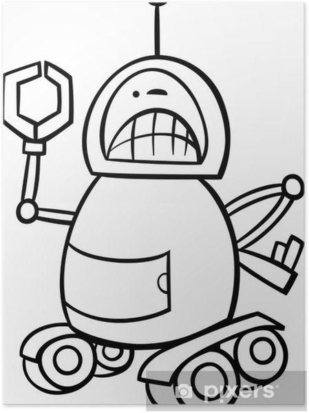 Póster Robot Enojado Página Para Colorear De Dibujos Animados