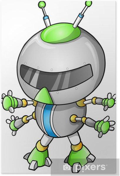Poster Robot mignon illustration - Ordinateurs