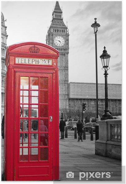 Poster Rode telefooncel in Londen met de Big Ben in zwart en wit -