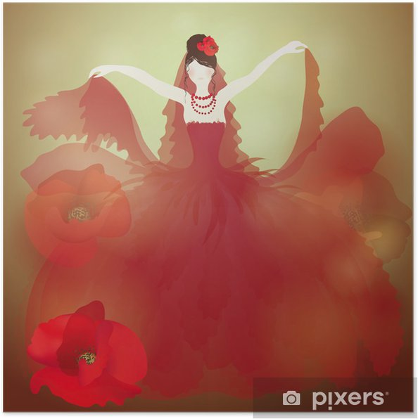 Rode Trouwjurk.Poster Rode Trouwjurk Charmante Vrouw In Veld Klaprozen Pixers