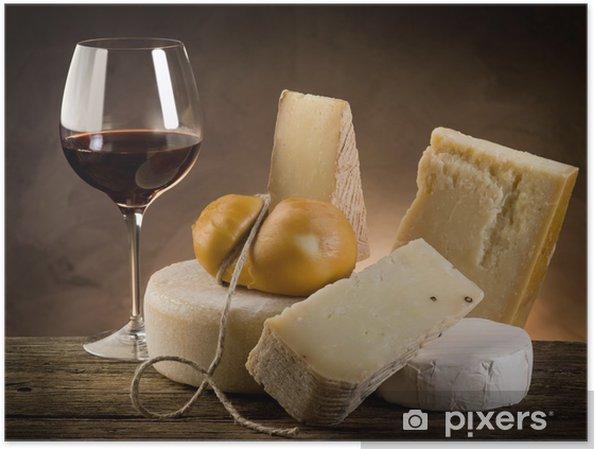 Poster Rode wijn en kaas - Kaas