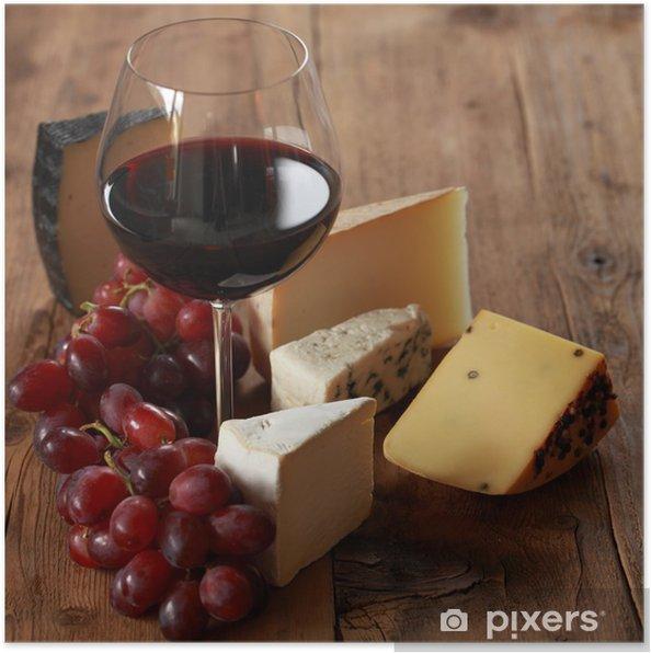 Poster Rode wijn met verschillende soorten kaas - Kaas