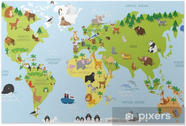 Poster Rolig tecknad världskarta med traditionella djur av alla kontinenter och hav. Vektor illustration för förskoleundervisning och barn utformning - PI-31
