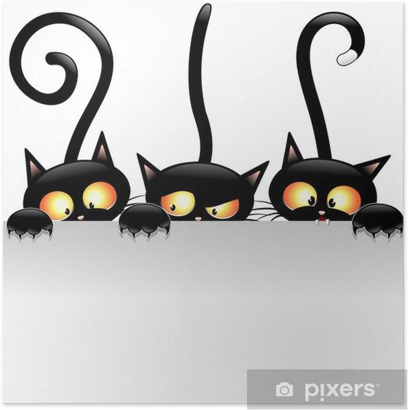 Poster Roliga katter tecknad med panel-Gatti Buffi con Pannello -