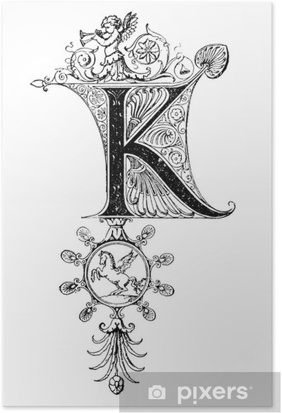 Romanesque Neoclassical design depicting the letter K Poster - Signs and Symbols