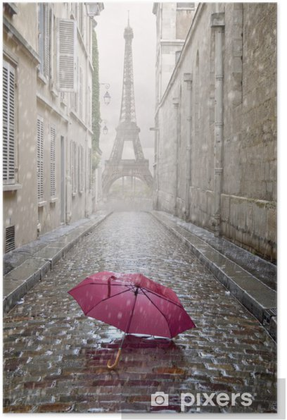 Romantic alley on a rainy day. Poster - Themes