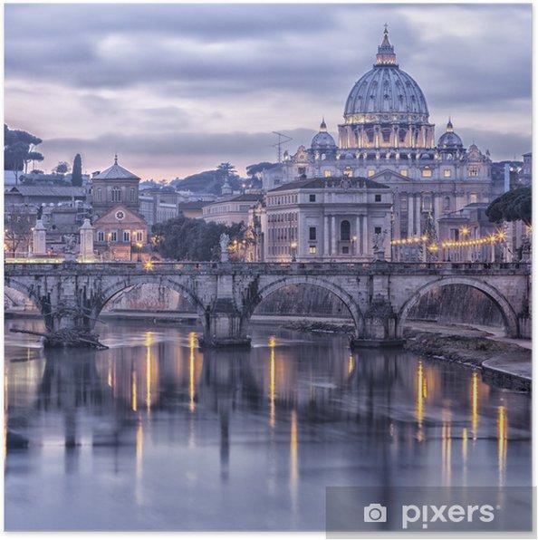 Poster Rome en de rivier de Tiber in de schemering -