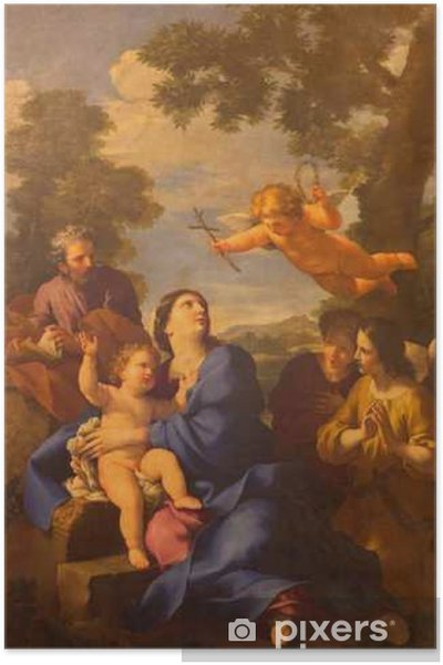 ROME, ITALY - MARCH 10, 2016: The painting The Reposo of Holy family in Egypt in church Chiesa di San Carlino alle Quatro fontane by Giovan Francesco Romanelli 17. cent. Poster - Buildings and Architecture