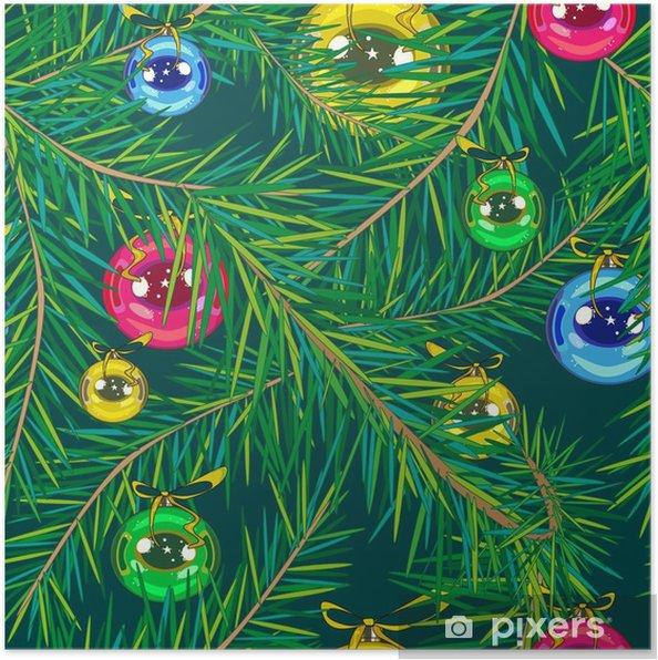 Poster Rondes Décorations De Sapin De Noël De Couleur Bleu Or Vert