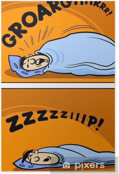Poster Ronflement dessin animé homme illustration comique - Vie