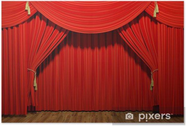 Poster Rood stadium theater fluwelen gordijnen - iStaging