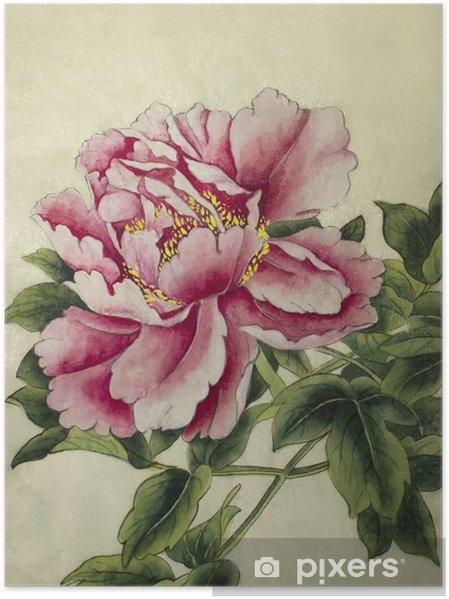 Poster Rosa pion blomma - Växter & blommor