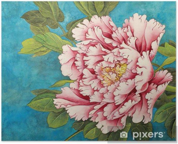 Poster Rosa pion på blå botten - Växter & blommor
