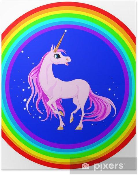 Póster Rosa unicornio - Animales fantásticos