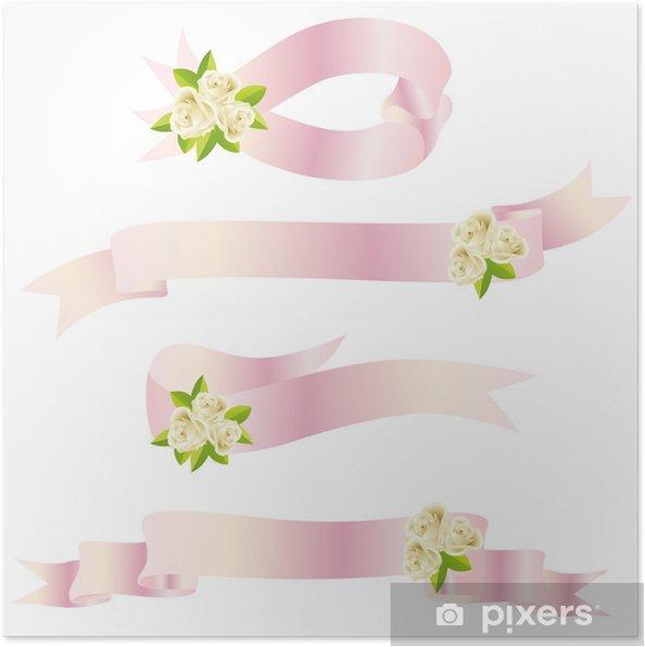 Poster Rose et ruban rose - Signes et symboles