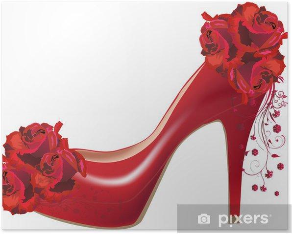 Poster Rose rouge des fleurs et des chaussures isolés sur fond blanc - Mode