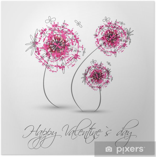 Poster Rose valentine pissenlit - Fêtes internationales