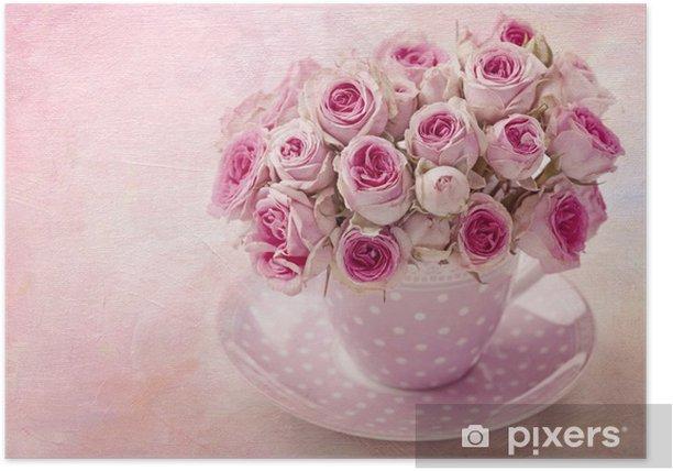 Poster Rose vintage rose - Thèmes