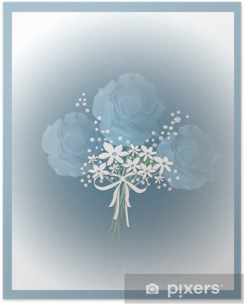 Poster Roses bleues illustration - Célébrations