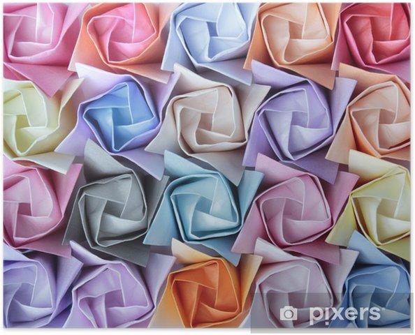 Poster Roses en papier colorés disposés comme un arrière-plan décoratif - Arrière plans
