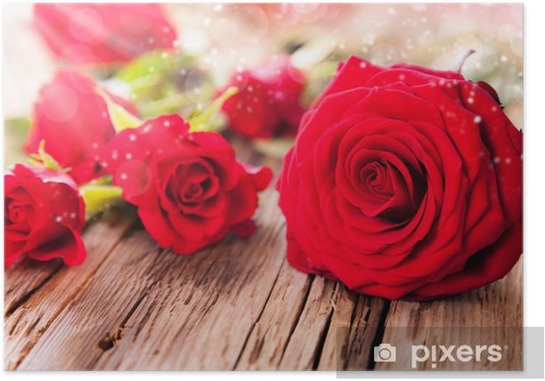 Poster Roses rouges sur bois - Animaux imaginaires