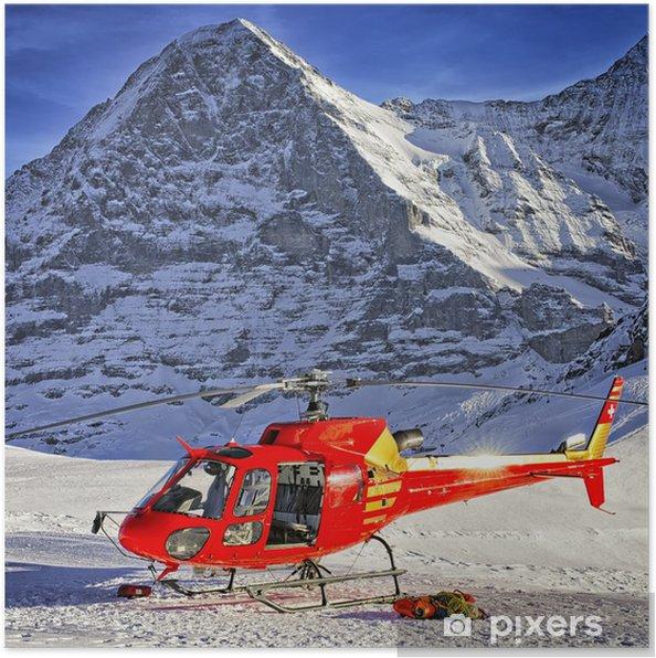 Poster Rouge hélicoptère a atterri près de crête alpine près de Jungfrau - Europe
