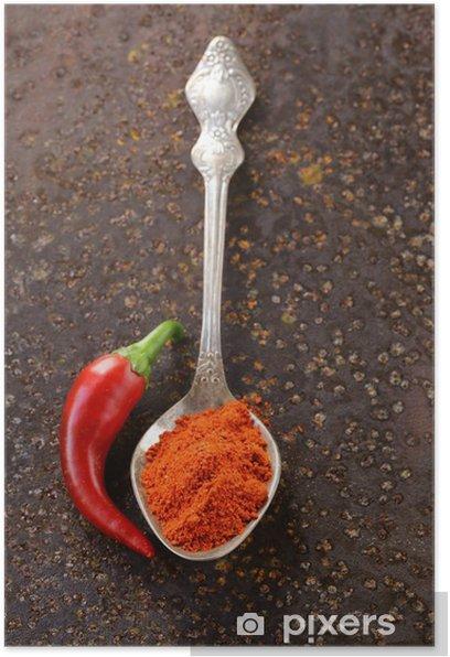 Poster Rouge paprika poivre épices sur fond vieux fer - Repas