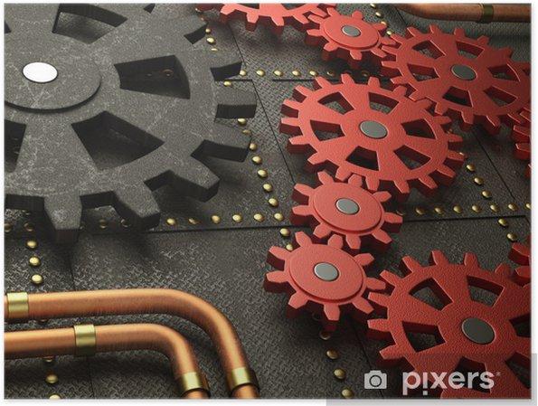 Poster Rouge prépare la machine steampunk - Steampunk