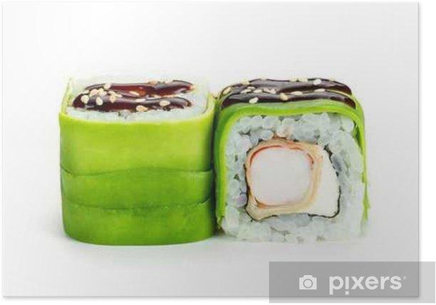 Poster Rouleaux de sushi à l'avocat et crevettes isolé sur fond blanc - Nourriture