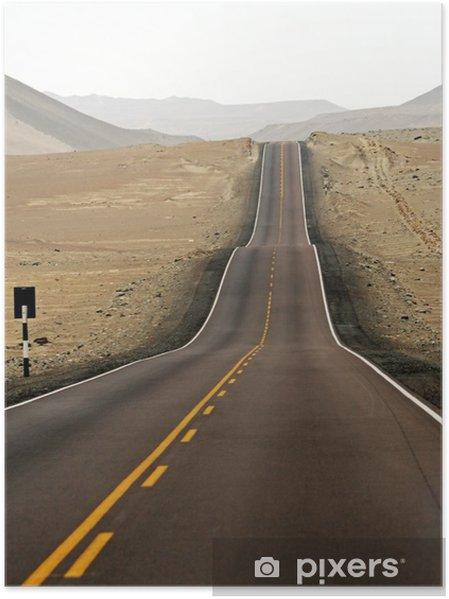 Poster Route goudronnée dans le midle du désert - Temps