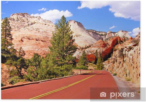 Poster Route panoramique à travers le Parc national de Zion, Etats-Unis - Amérique