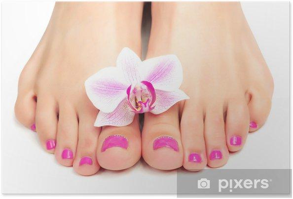 Poster Roze pedicure met een orchidee bloem - Lichaamsdelen