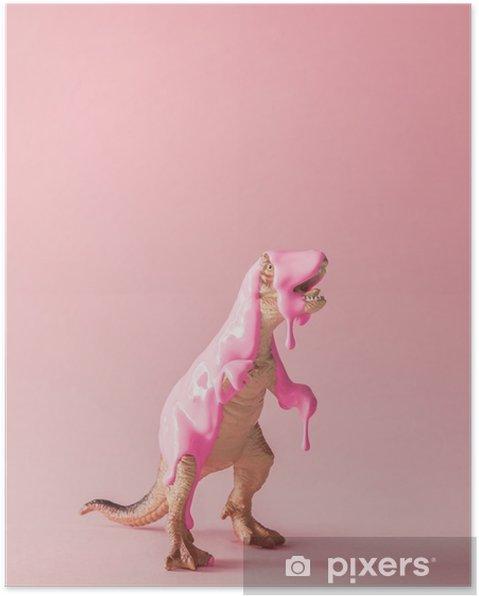 Poster Roze verf druipend op speelgoed van de dinosaurus. creatief minimaal concept. - Dieren